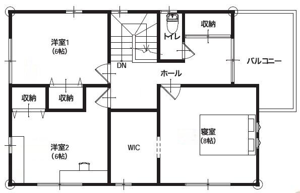 ホームステージング 2F ナチュラルカフェ 間取り図