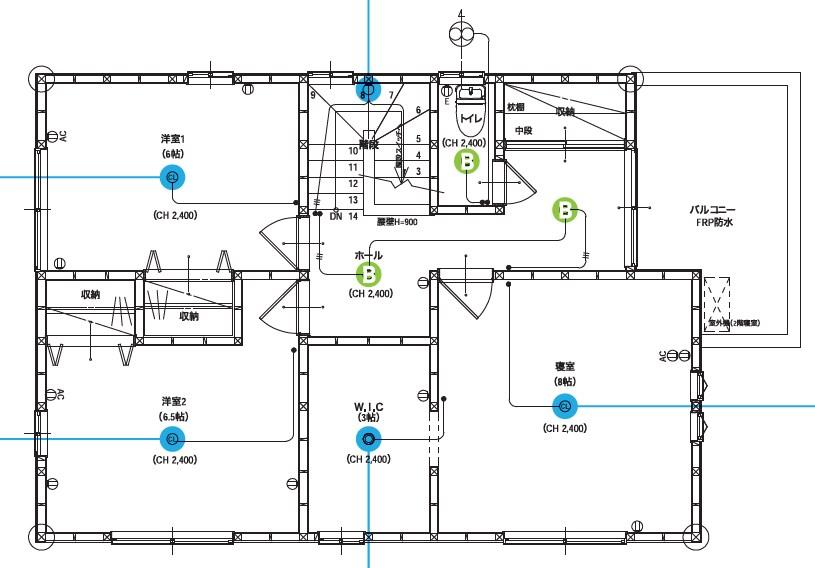 エラベール 照明プラン2F 間取り図