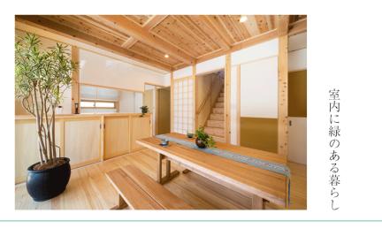 無垢材内装に調和するインドアガーデニング 室内の観葉植物を楽しみませんか?